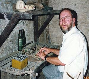Intrepid war correspondent, P J Hunt, gets his daily dispatches written underground at Cu Chi.