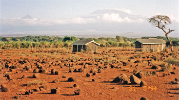 Kilimanjaro and the surrounding volcanic landscape