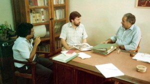 (Left to Right) Noel Berman, John Rose and Peter Berry discussing our visit in Peter's office